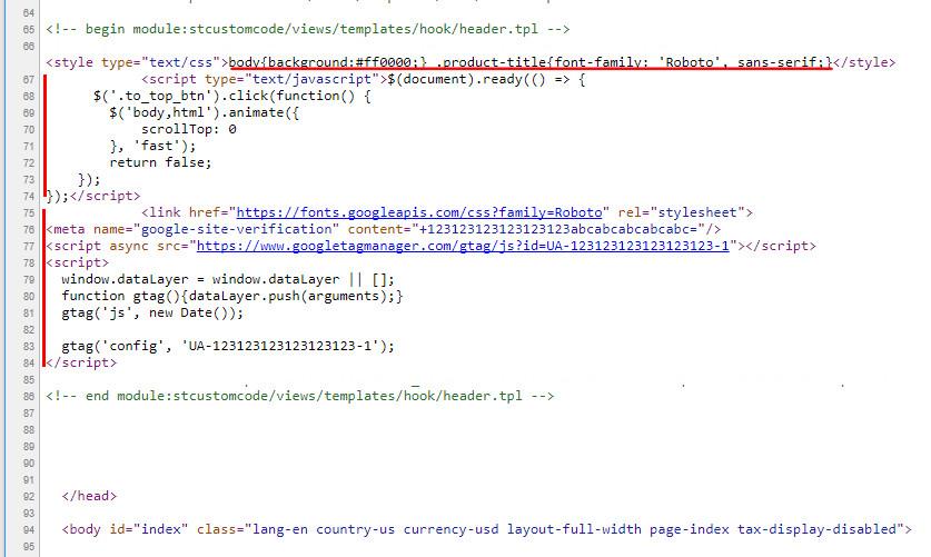 Free PrestaShop1 7 custom code module - Add custom css or