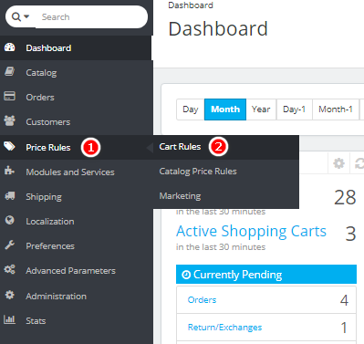 Price rules - Cart rules Menu in PrestaShop