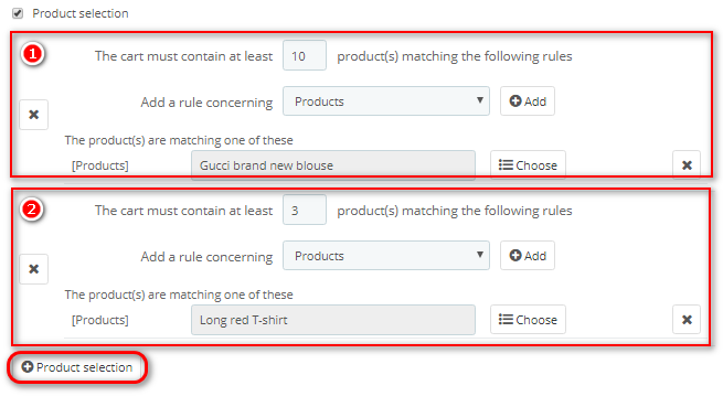 product restriction for cart rule PrestaShop