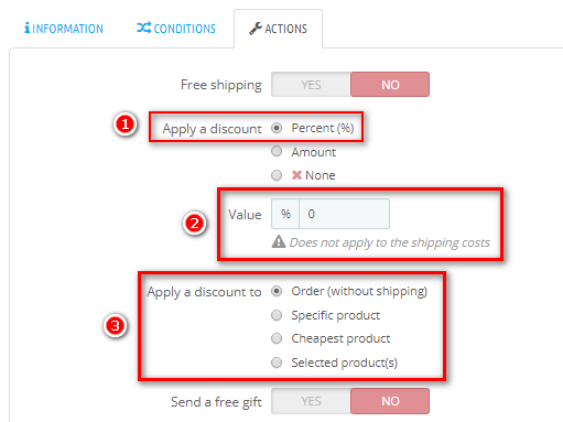 actions percent for cart rule PrestaShop