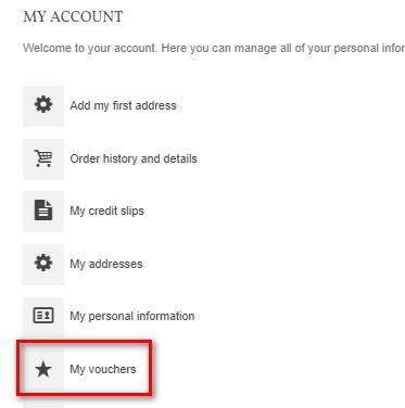 customer account page my vouchers PrestaShop