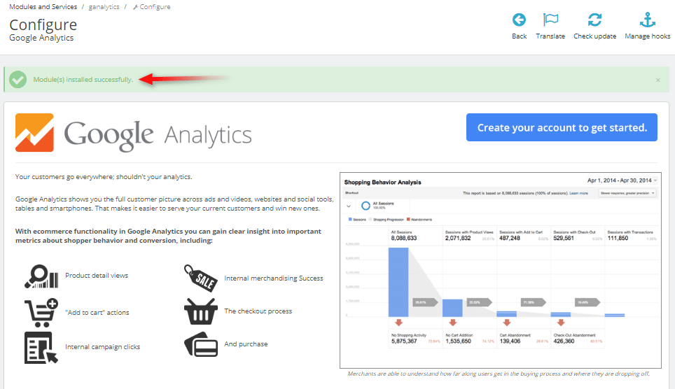 Google Analytics prestashop module