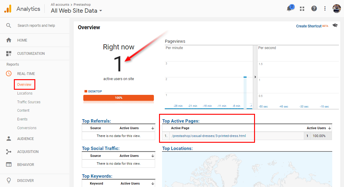 Check online visitors in Google Analytics