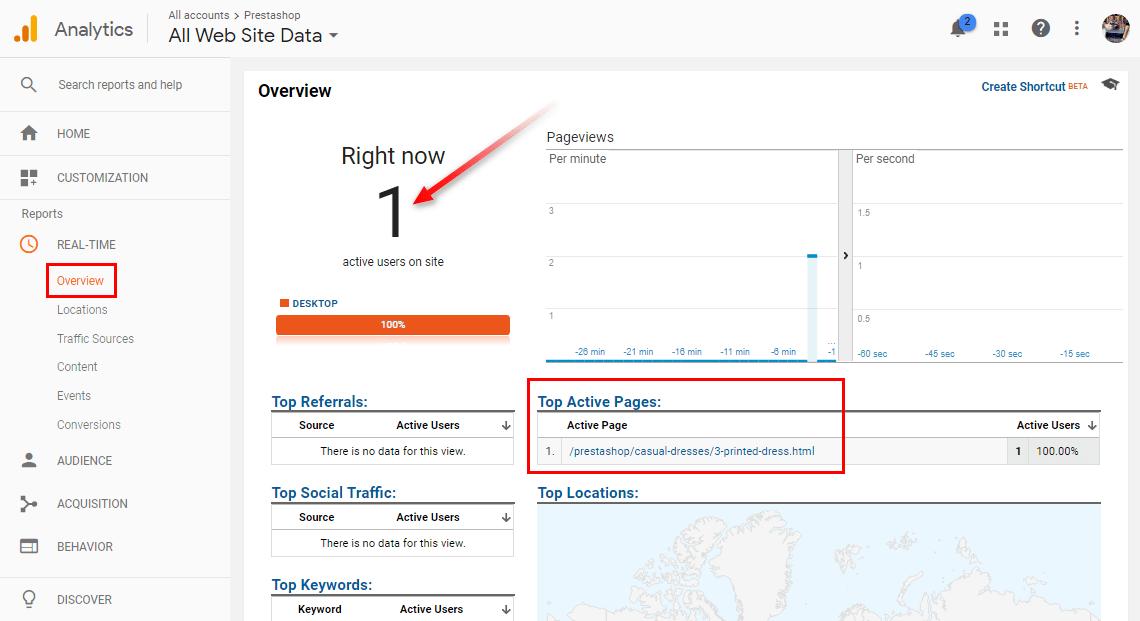 Check online visitors in Google Analytics