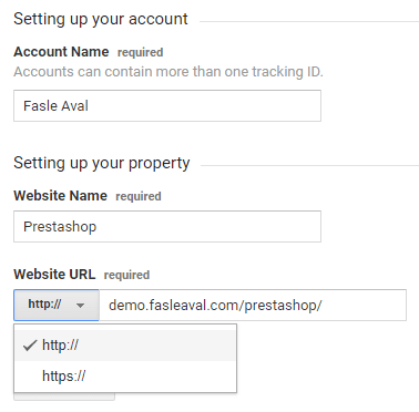 Fill in required fields to create Google Analytics account